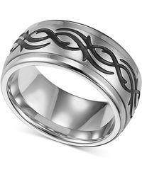 Triton - Men's Stainless Steel Ring, Black Design Wedding Band - Lyst