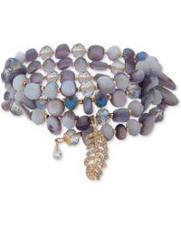 Lonna & Lilly - Gold-tone Pavé, Stone & Bead Multi-row Coil Bracelet - Lyst