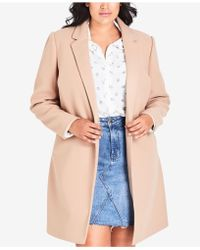 City Chic - Trendy Plus Size Notched-collar Coat - Lyst