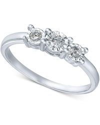 Macy's - Diamond 3-stone Promise Ring In 10k White Gold (1/4 Ct. T.w.) - Lyst