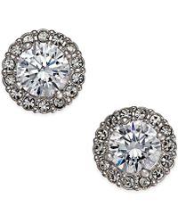 Danori - Silver-tone Framed Crystal Stud Earrings - Lyst