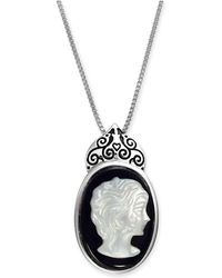 """Macy's - Onyx (18 X 13mm) & Mother-of-pearl Cameo 18"""" Pendant Necklace In Sterling Silver - Lyst"""