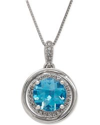 Macy's - Swiss Blue Topaz (2-1/4 Ct. T.w.) And Diamond (1/8 Ct. T.w.) Pendant Necklace In 14k White Gold - Lyst