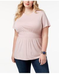 Soprano - Trendy Plus Size Smocked-waist Top - Lyst
