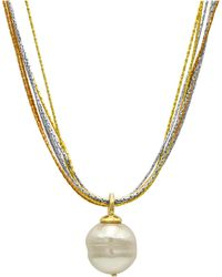 Majorica | Sterling Silver And 18k Gold Over Sterling Silver Pendant, Imitation Baroque Pearl | Lyst