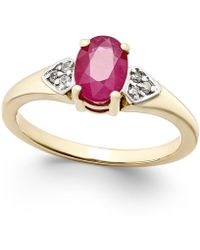 Macy's | Ruby (1 Ct. T.w.) And Diamond Accent Ring In 14k Gold | Lyst