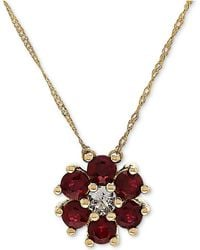 "Macy's - Ruby (9/10 Ct. T.w.) & White Topaz (1/6 Ct. T.w.) 18"" Pendant Necklace In 14k Gold - Lyst"