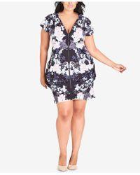 City Chic - Trendy Plus Size Printed Tunic Dress - Lyst