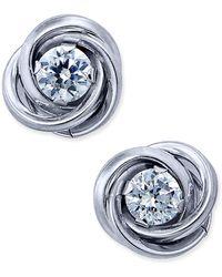 Macy's | Cubic Zirconia Love Knot Stud Earrings In 10k White Gold | Lyst