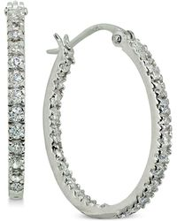 """Giani Bernini - Small Cubic Zirconia In & Out Oval Hoop Earrings In 18k Gold-plated Sterling Silver, 0.6"""", Created For Macy's - Lyst"""