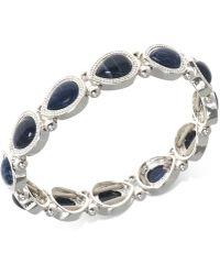 Nine West - Silver-tone Blue Stone Stretch Bracelet - Lyst
