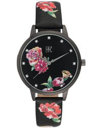 INC International Concepts - Black Floral Faux Leather Strap Watch 38mm, Created For Macy's - Lyst