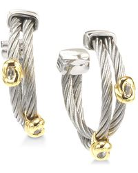 Charriol - White Topaz Accent Two-tone Hoop Earrings In Stainless Steel & 18k Gold-plated Sterling Silver - Lyst