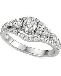 Macy's - Diamond 3-stone Engagement Ring (1 Ct. T.w.) In 14k White Gold - Lyst