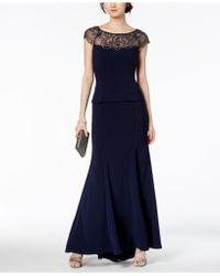 Xscape - Petite Embellished Illusion-contrast Gown - Lyst