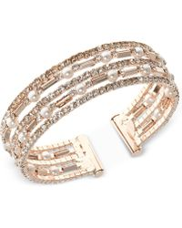 Anne Klein - Rose Gold-tone Imitation Pearl And Crystal Multi-row Cuff Bracelet - Lyst