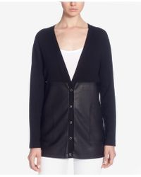 Catherine Malandrino - Calvin Pieced Faux-leather Cardigan - Lyst