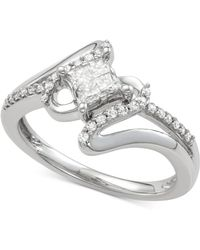 Macy's - Diamond Swirl Engagement Ring (1/2 Ct. T.w.) In 14k White Gold - Lyst