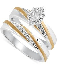 Beautiful Beginnings - Diamond Accent Engagement Bridal Set In 14k Gold And Sterling Silver - Lyst