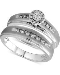 Beautiful Beginnings - Diamond Halo Bridal Ring Set In Sterling Silver (1/3 Ct. T.w.) - Lyst