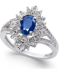 Macy's - Sapphire (1 Ct. T.w.) And Diamond (1/5 Ct. T.w.) Ring In 14k White Gold - Lyst