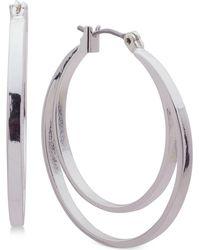 Nine West - Silver-tone Double Hoop Earrings - Lyst