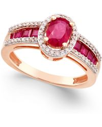 Macy's - Certified Ruby (1-3/4 Ct. T.w.) And Diamond (1/4 Ct. T.w.) Statement Ring In 14k Rose Gold - Lyst