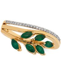 Macy's - Emerald (1/2 Ct. T.w.) & Diamond Accent Statement Ring In 14k Gold - Lyst