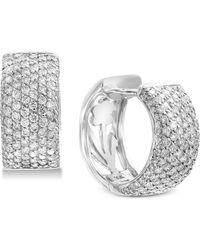 Effy Collection - Effy® Diamond Pavé Huggie Hoop Earrings (1-1/2 Ct. T.w.) In 14k White Gold - Lyst
