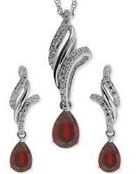 No Vendor - Ruby (1 Ct. T.w.) And White Topaz (3/8 Ct. T.w.) Jewelry Set In Sterling Silver - Lyst