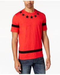 Sean John   Men's Pieced-stripe Star-print T-shirt   Lyst