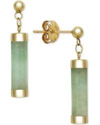 Macy's - Dyed Jadeite (4 X 15mm) Capped Tube Drop Earrings In 14k Gold - Lyst