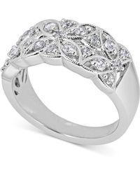 Macy's - Diamond Openwork Floral Statement Ring (1/2 Ct. T.w.) In 14k White Gold - Lyst