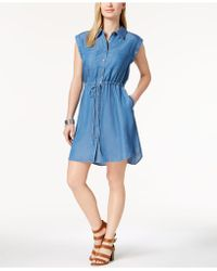 Style & Co. - Chambray Drawstring-waist Shirtdress, Created For Macy's - Lyst