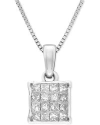 Macy's - Diamond Square Cluster Pendant Necklace (1/2 Ct. T.w.) In 14k White Gold - Lyst