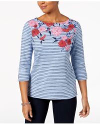 Alfani - Petite Mixed-print Boat-neck Top, Created For Macy's - Lyst