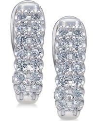 Macy's - Diamond Hoop Earrings (1 Ct. T.w.) In 10k White Gold & Yellow Gold - Lyst