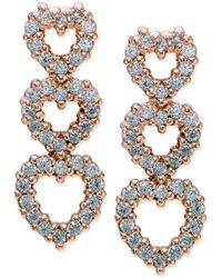 Giani Bernini - Cubic Zirconia Pavé Triple Heart Drop Sterling Silver Earrings - Lyst