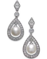 Macy's - Cultured Freshwater Pearl (6mm) & White Topaz (1 Ct. T.w.) Drop Earrings In Sterling Silver - Lyst