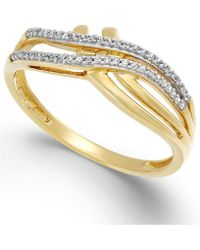 Macy's - Diamond (1/10 Ct. T.w.) Double Bypass Ring In 10k Gold - Lyst