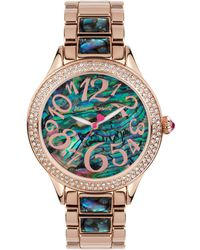 Betsey Johnson - Women's Abalone-color And Rose Gold-tone Bracelet Watch 40mm Bj00478-04 - Lyst