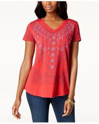 Style & Co. - Embroidered V-neck T-shirt, Created For Macy's - Lyst