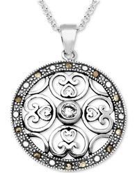 """Macy's - Marcasite & Crystal Openwork Circle 18"""" Pendant Necklace In Fine Silver-plate - Lyst"""