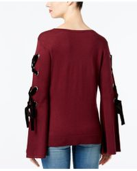 INC International Concepts - I.n.c. Petite Velvet-detail Lace-up Sweater, Created For Macy's - Lyst