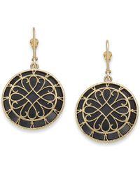 Macy's - Onyx Filigree Medallion Drop Earrings In 14k Gold - Lyst