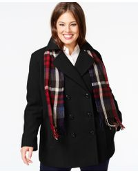 London Fog - Plus Size Double-Breasted Peacoat With Plaid Scarf - Lyst