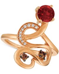 Le Vian - Raspberry Rhodolite® (9/10 Ct. T.w.) And Diamond (1/6 Ct. T.w.) Ring In 14k Rose Gold - Lyst