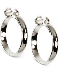 Anne Klein - Silver-tone E-z Comfort Clip Wide Hoop Earrings - Lyst