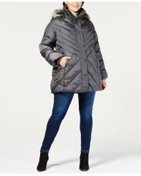London Fog - Plus Size Faux-fur-trim Hooded Quilted Coat - Lyst