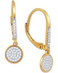Macy's - Diamond Pavé Drop Earrings (1/5 Ct. T.w.) In 10k Gold - Lyst